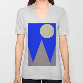 Mountains and Moon Unisex V-Neck