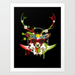 A stag's head with red sunglasses Art Print