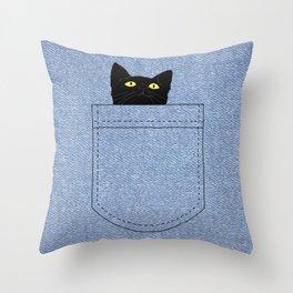 pocket cat Throw Pillow
