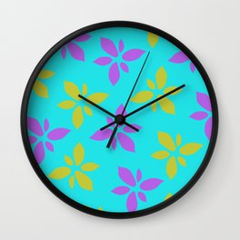 Illustration of flowers(light blue background) Wall Clock
