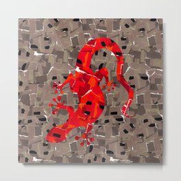 Red Lizard Collage Metal Print