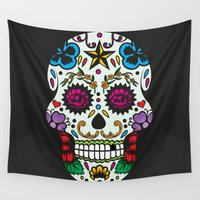sugar skull Wall Tapestries featuring Sugar skull by very giorgious