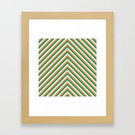 Orange White and Green Irish Chevron Stripe Framed Art Print
