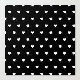 HEARTS ((white on black)) Canvas Print