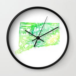 Typographic Connecticut - green watercolor map Wall Clock