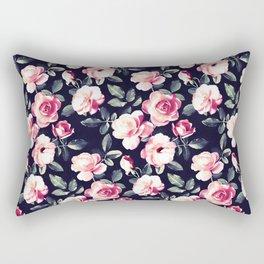 Moody Vintage Rose Chintz in Peach Pink Rectangular Pillow