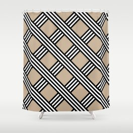 Pantone Hazelnut, Black & White Diagonal Stripes Lattice Pattern Shower Curtain