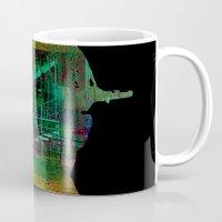 oil Mugs featuring oil worker by Ganech joe