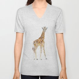 Baby Giraffe Watercolor Painting Unisex V-Neck