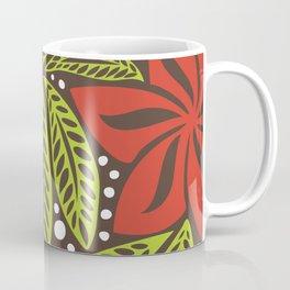 Polynesian flower floral green red tattoo design Coffee Mug