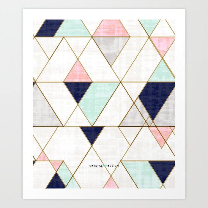 Mod Triangles - Navy Blush Mint Kunstdrucke