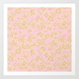 Pink n' Yellow Sketchy Rose Print Art Print