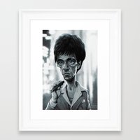 scarface Framed Art Prints featuring Scarface by Nicolas Villeminot