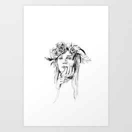 Girl with flowers in her hair Art Print