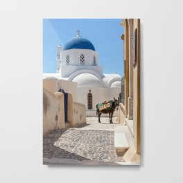 "Travel Photography ""white village on the Greek island of Santorini, with donkey and church"" in blue and white colors, from Greece. Fine art photo print.  Metal Print"