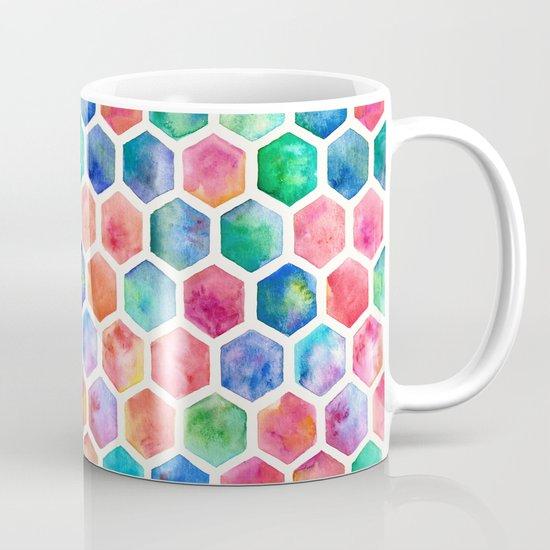 Hand Painted Watercolor Honeycomb Pattern Mug