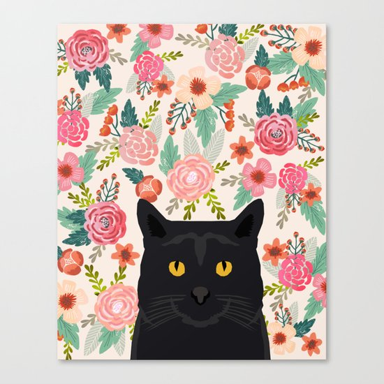 Black Cat florals spring summer animal portrait pet friendly cat lady gifts for her or him cute cats Canvas Print