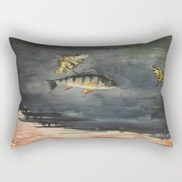 Vintage Winslow Homer Fish & Butterfly Painting (1900) Rectangular Pillow