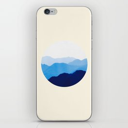 Colorful Blue Mountains Ombre Silhouette iPhone Skin