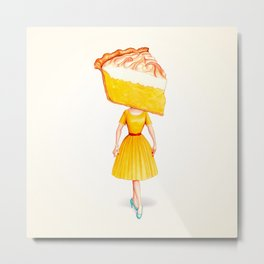 Cake Head Pin-Up - Lemon Metal Print