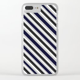 Stripes diagonal gray and black Clear iPhone Case
