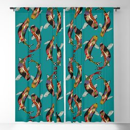 koi teal Blackout Curtain