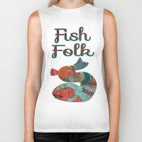 folk Biker Tanks featuring Fish Folk by BohemianBound