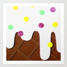 Ice-cream Papercut Art Print
