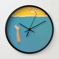 plain Wall Clocks featuring VIRGINIA PLAIN by Raphaëlle Martin