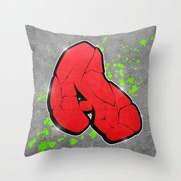 A - graffiti letter Throw Pillow