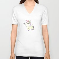 poop V-neck T-shirts featuring Unicorn Poop by Stephanie Keyes Design
