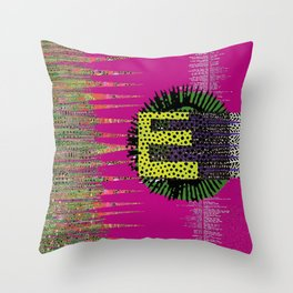 Hot Pink E Abstract Art Collage Throw Pillow