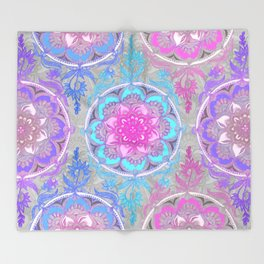 Pink, Purple and Turquoise Super Boho Doodle Medallions Throw Blanket