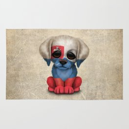 Cute Puppy Dog with flag of Slovakia Rug