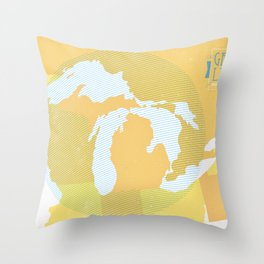 The GREAT LAKES of NORTH AMERICA Throw Pillow