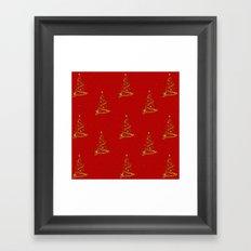 Gold Christmas Trees Framed Art Print