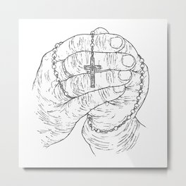 Praying hands - Crucifix - Jesus - Pray the rosary - Faith Metal Print