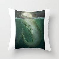moby Throw Pillows featuring Moby Dick by Marilyn Foehrenbach