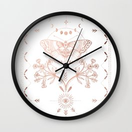Magical Moth In Rose Gold Wall Clock