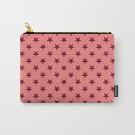Burgundy Red on Coral Pink Stars Carry-All Pouch