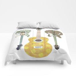 Guitar Collage Illustration Comforters