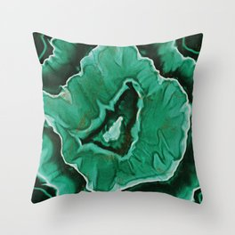 Malachite Marble With Gold Veins Throw Pillow