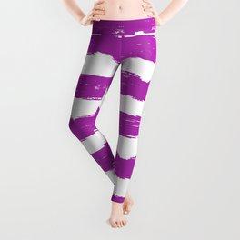 Hand-Drawn Stripes (Purple & White Pattern) Leggings