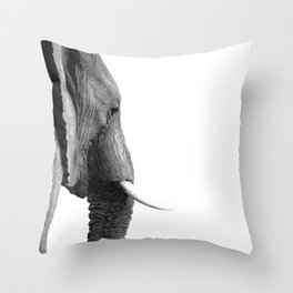 Black and white elephant portrait Throw Pillow