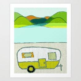camping art, camping artwork, camping, outdoor art, outdoors, outdoor artwork, mountains, mountain a Art Print