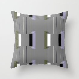 White Hairline Gray Squares Throw Pillow