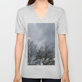 Winter Sky, Cloudy Winter Sky, Beautiful Clouds and Trees Unisex V-Neck
