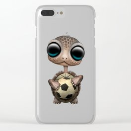 Cute Baby Turtle With Football Soccer Ball Clear iPhone Case