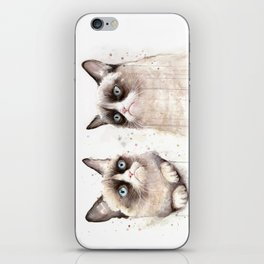 Grumpy Watercolor Cats iPhone Skin