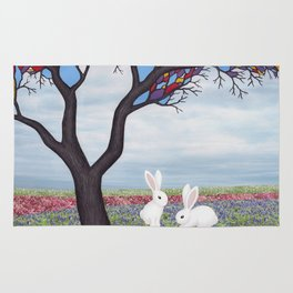 bunnies and the stained glass tree Rug